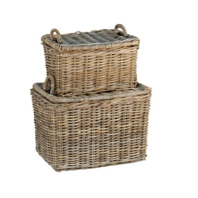 French farmhouse baskets with handles and lids add rustic European country charm to any space in the house.