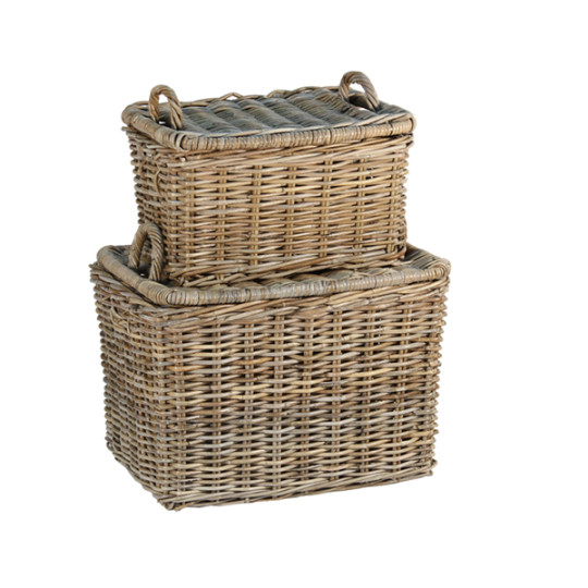 French baskets with handles and lids.