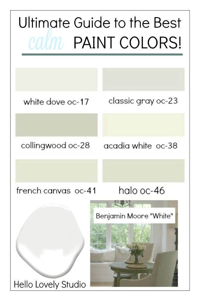 Ultimate Guide to the Best calm Paint Colors has ideas for wall paint colors for your rooms to create a calm, serene, tranquil feel! Hello Lovely Studio. #calmpaintcolors #paintcolors #neutralpaintcolors #hellolovelystudio