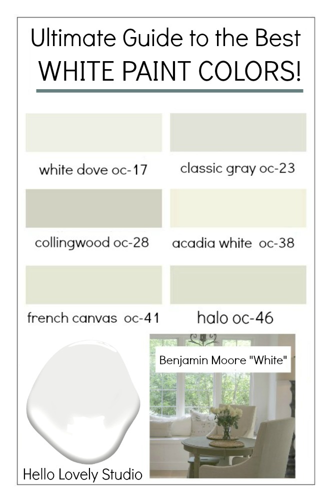 Ultimate Guide to Best White Paint Colors! #bestwhite #whitepaint #choosingwhite #paintcolors #benjaminmoorewhite #benjaminmoorewhitedove #benjaminmooreclassicgray #benjaminmoorecollingwood #benjaminmooreacadiawhite #benjaminmoorefrenchcanvas #benaminmoorehalo