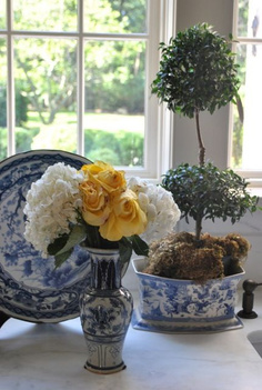 Blue and white porcelain, topiaries and flowers play starring roles in Tina's kitchen - The Enchanted Home. #blueandwhite #traditionalstyle