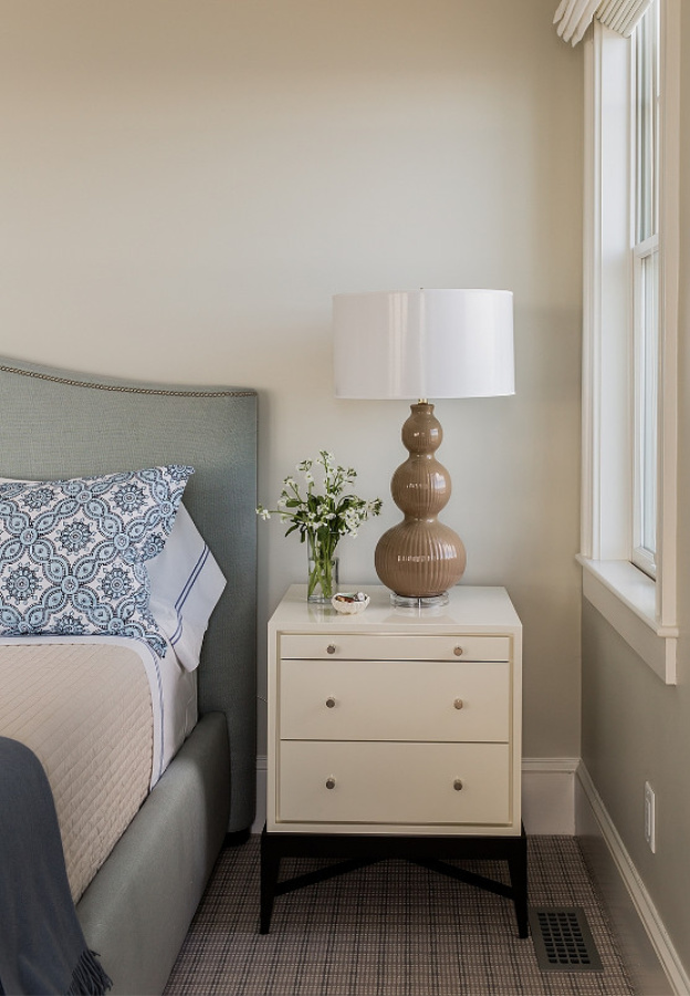 BM Edgecomb Gray paint color on walls of tranquil bedroom with design by Jennifer Palumbo. #benjaminmoore #edgecombgray #paintcolors #calmpaintcolors