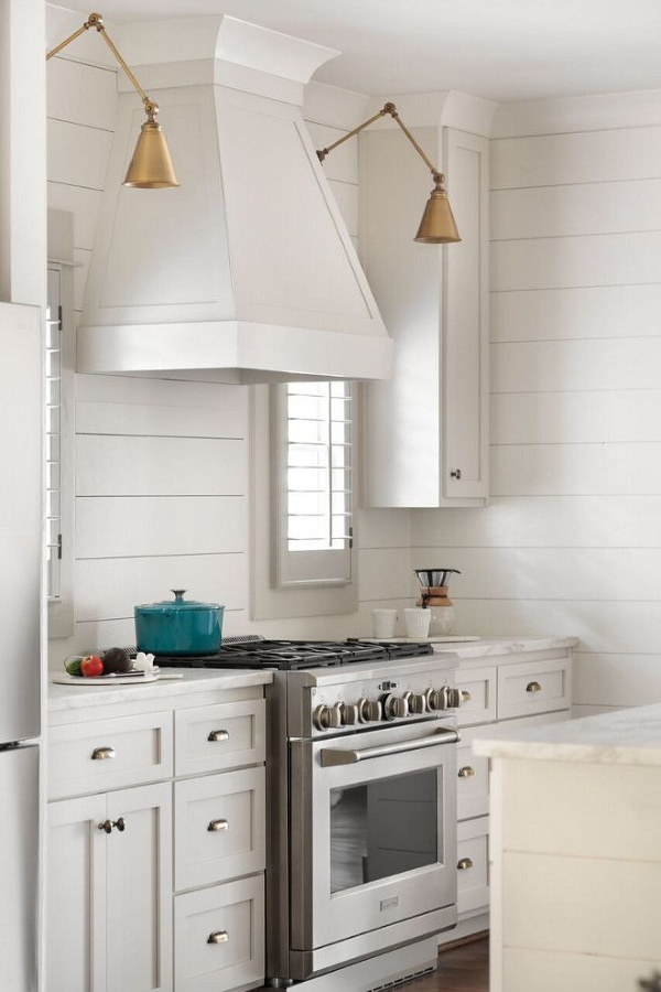 Edgecomb Gray paint color by Benjamin Moore on kitchen cabinets in a lovely modern farmhouse kitchen with shiplap by Willow Homes. #edgecombgray #benjaminmoore #paintcolors #lightgreypaintcolor