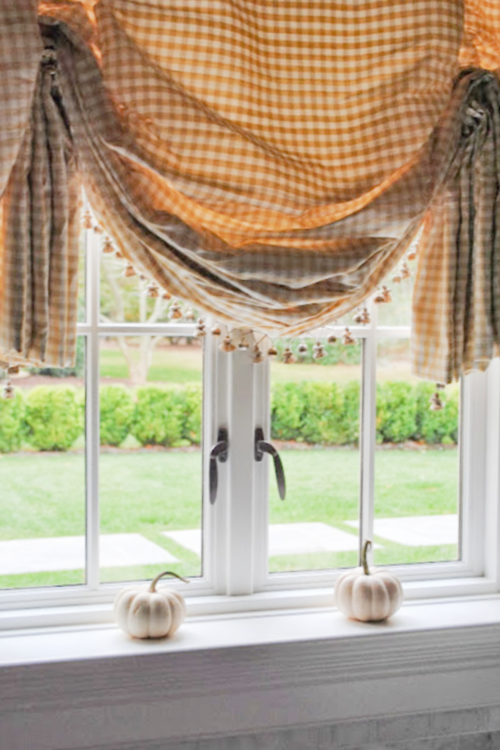 French country balloon valance window treatment in Tina's beautiful home - The Enchanted Home.