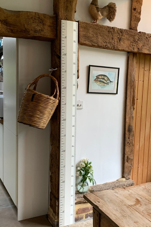 Pointing paint color by Farrow & Ball on a handmade charming wooden growth chart ruler by Etsy maker RealRulerCo. #pointing #farrowandball #paintcolors