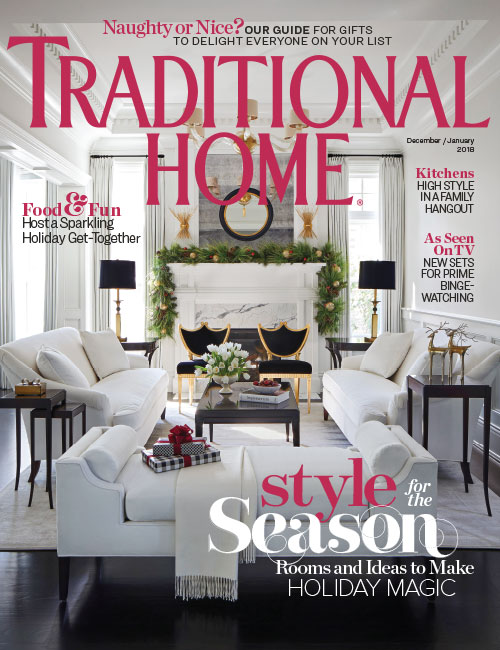 Traditional Home magazine cover with white living room