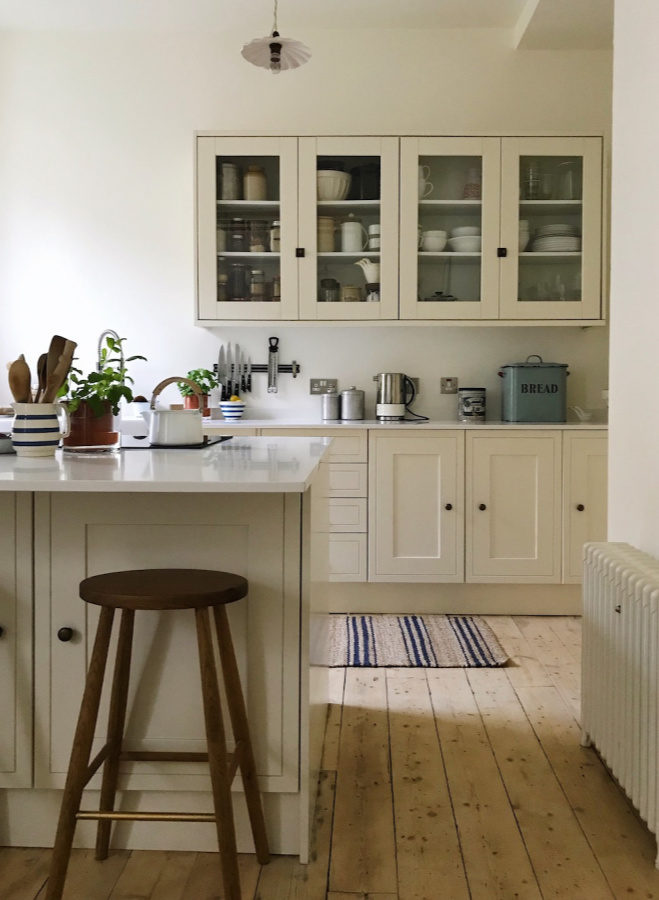 Wimborne White paint color by Farrow & Ball on walls of a glorious country kitchen by Siobhan McFadden of Homestead. #wimbornewhite #farrowandball #paintcolors #whitepaintcolors #interiordesign
