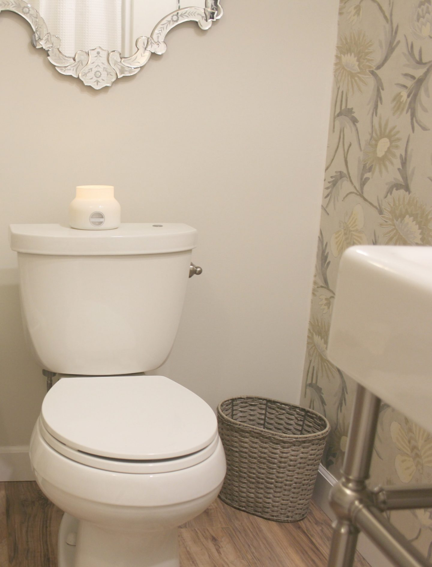 Come tour our new light, bright, and functional bathroom we built DIY style in a dark basement. #beforeandafter #renovation #bathroomdesign