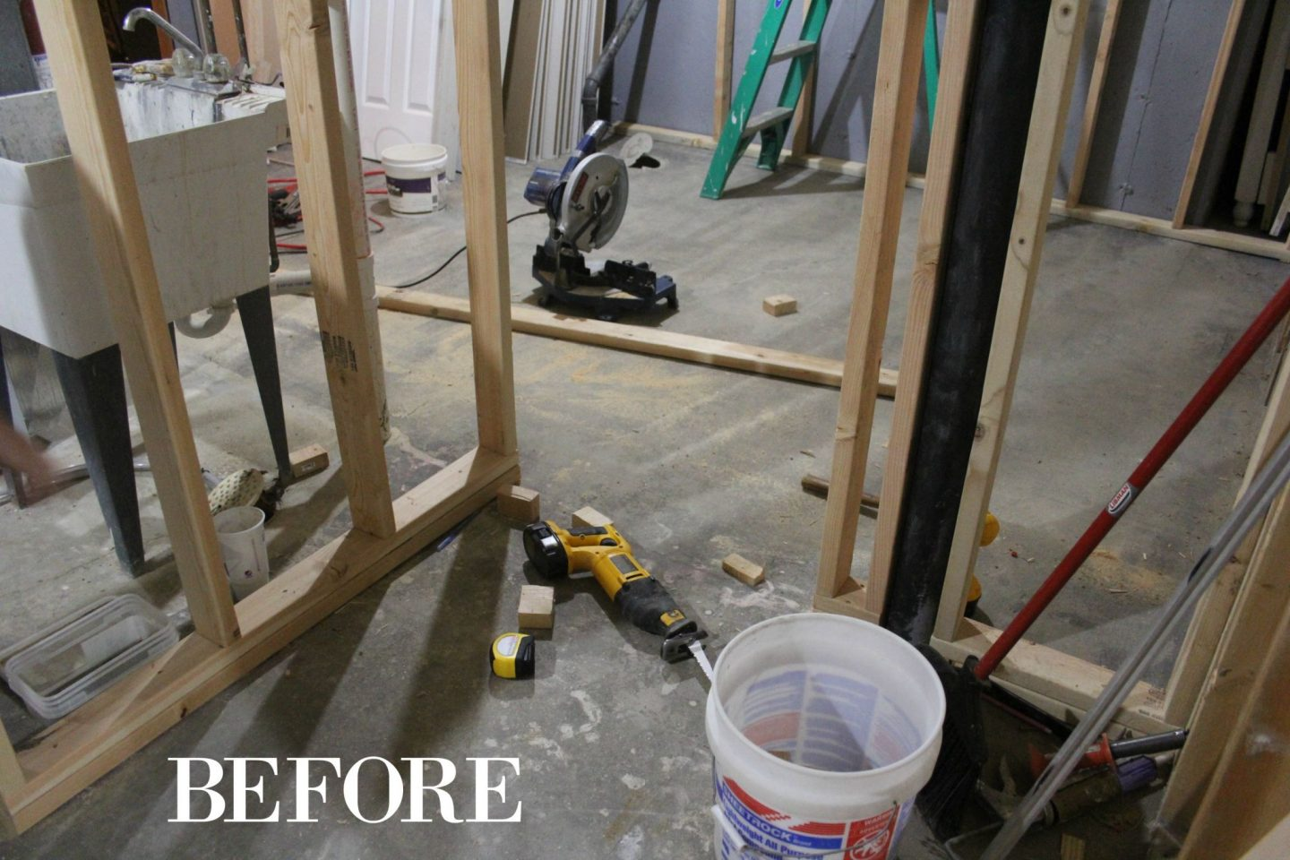A DIY bathroom we created from scratch in our dark unfinished basement! #DIYhome #beforeandafter #bathroomdesign