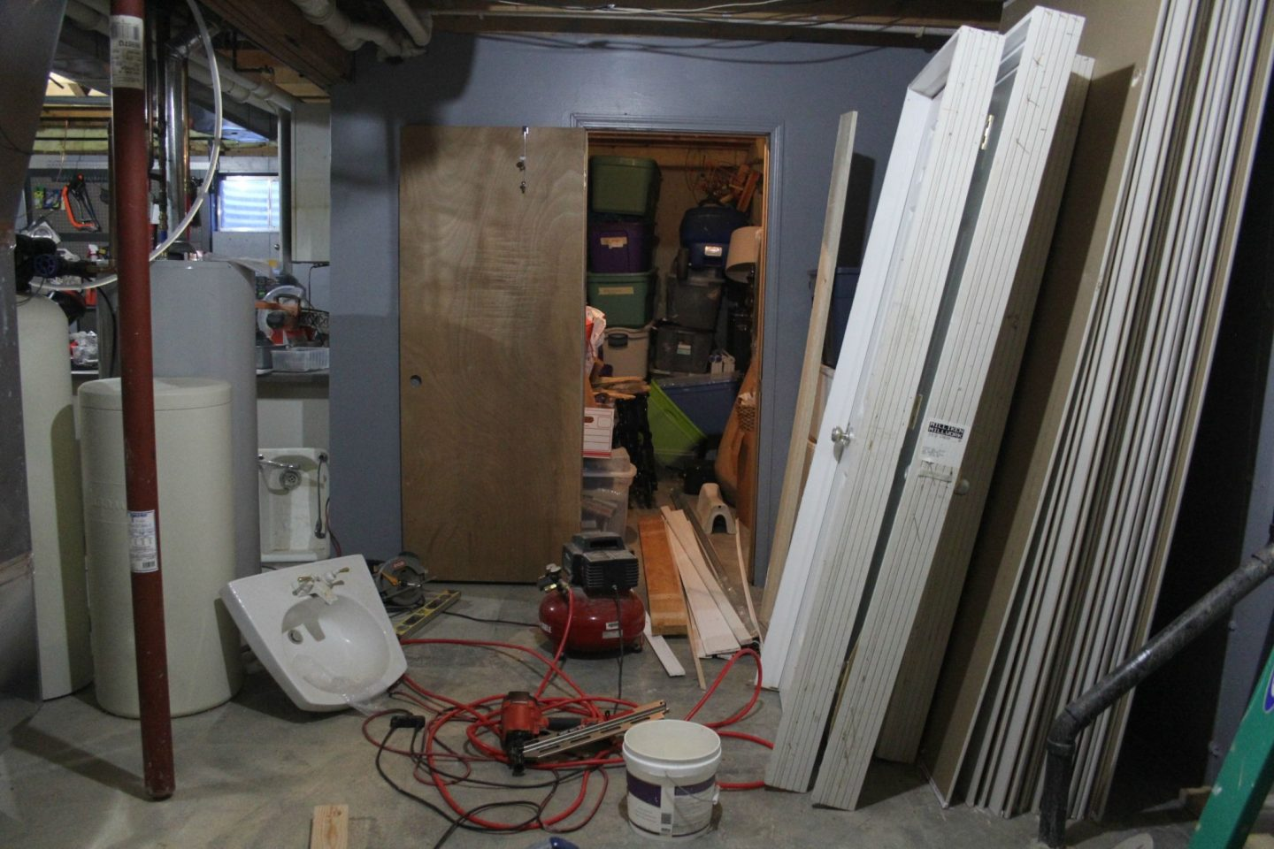 You won't believe how this ugly basement space looks now that we added a pretty, spa-like bathroom! #DIY #bathroomdesign #renovation #beforeandafter