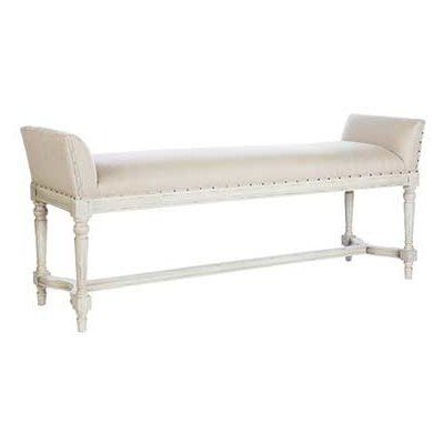 French Upholstered Gray Bench