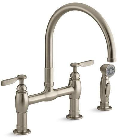 Kohler Parq bridge faucet with sprayer.