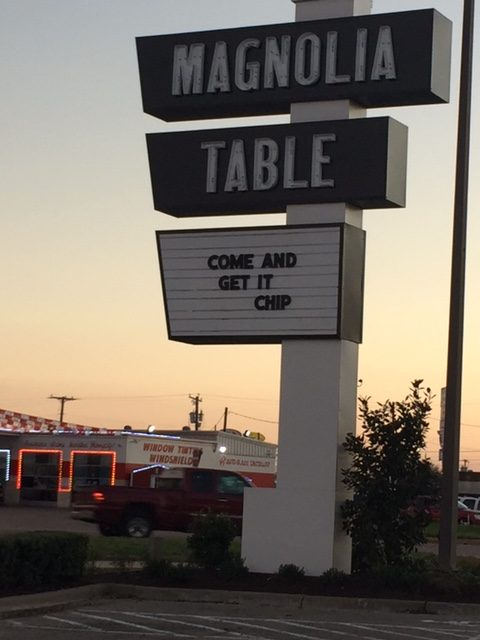 Magnolia Table restaurant sign outside in Waco, Texas: COME AND GET IT CHIP! #magnoliatable #fixerupper #Chip