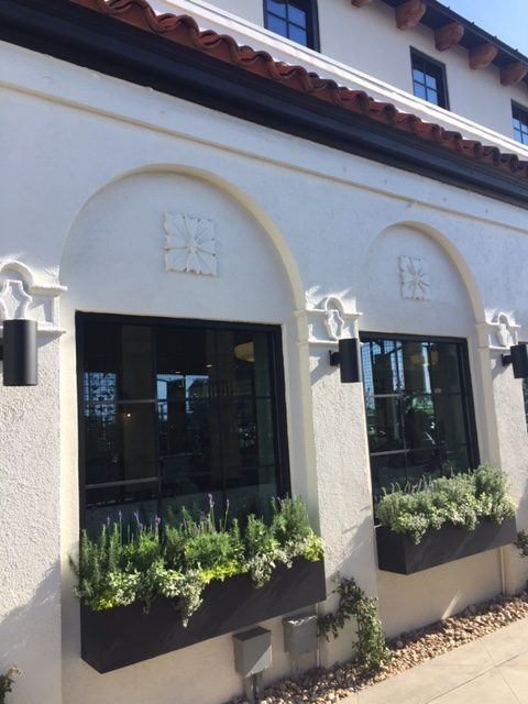 Magnolia Table restaurant exterior with black flower boxes with greenery. #magnoliatable