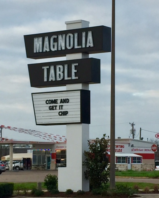 Magnolia Table restaurant sign outside the new Fixer Upper restaurant. COME AND GET IT CHIP! #magnoliatable #restaurant #fixerupper #waco