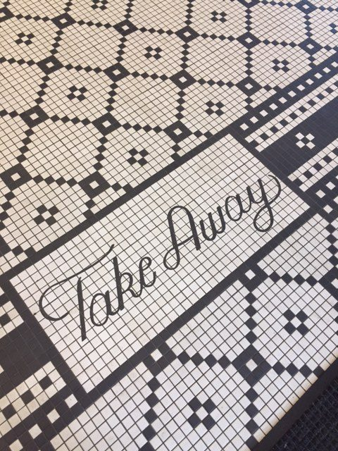 Black and white floor tile in take away area in Magnolia Table restaurant. #magnoliatable #restaurant #blackandwhite #tile