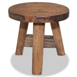 Rustic Wood 3 Leg Stool
