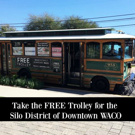 Trolley in downtown Waco at Magnolia Market. #magnolia #trolley #waco