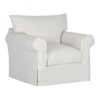Beachy White Slipcovered Armchair