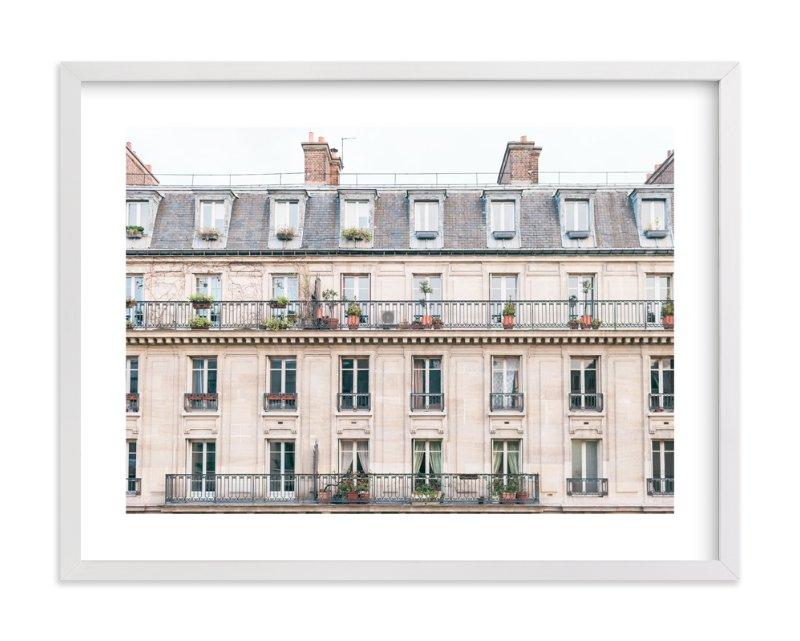 Pink Paris Beautiful Apartment Building Framed Print with white frame