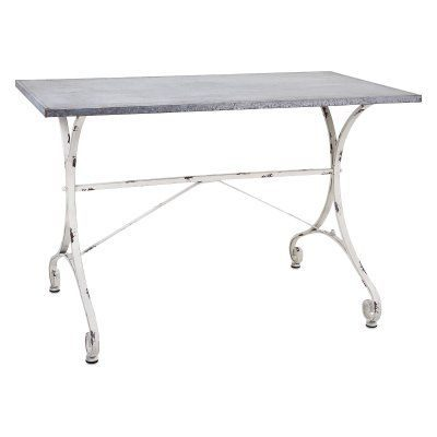Galvanized console table with French country style.