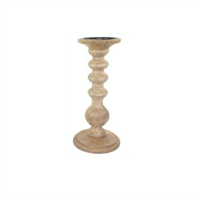 Hosley turned wood pillar candleholder candlestick