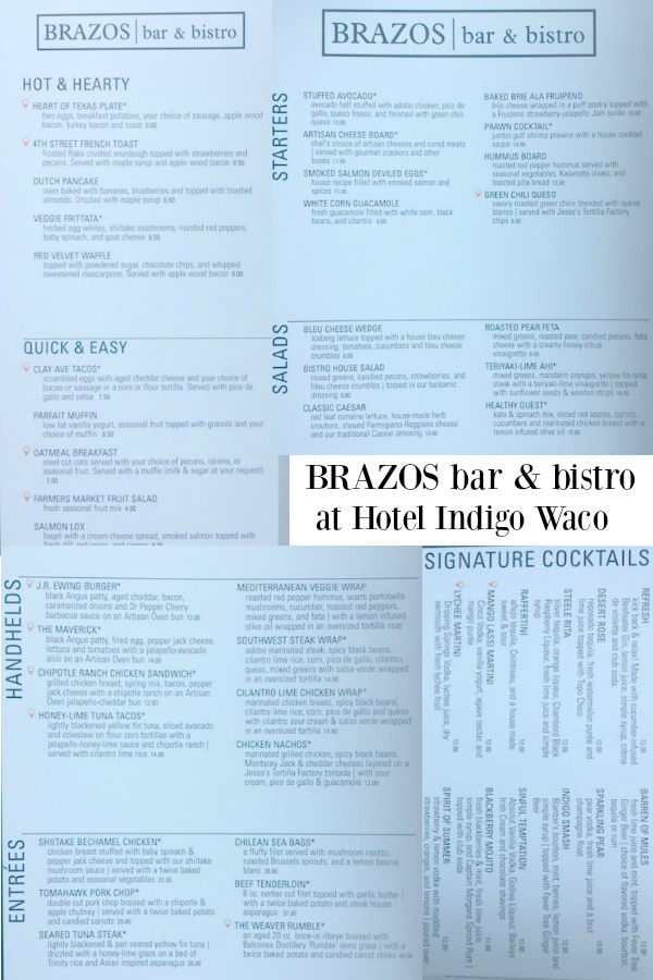 Menu for Brazos Bar & Bistro in Hotel Indigo Waco-Baylor. #Brazos #Menu #Bar