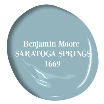 Saratoga Springs Benjamin Moore paint is a beautiful light to medium blue color for a tranquil, coastal, and modern look. #saratogasprings #benjaminmoore #paint #teal #blue