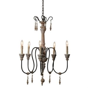 French Country Wood Chandelier