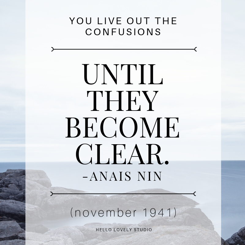 Anais Nin inspiring quote. YOU LIVE OUT THE CONFUSIONS UNTIL THEY BECOME CLEAR. #hellolovelystudio #quote #inspiration #encouragement #Anaisnin.