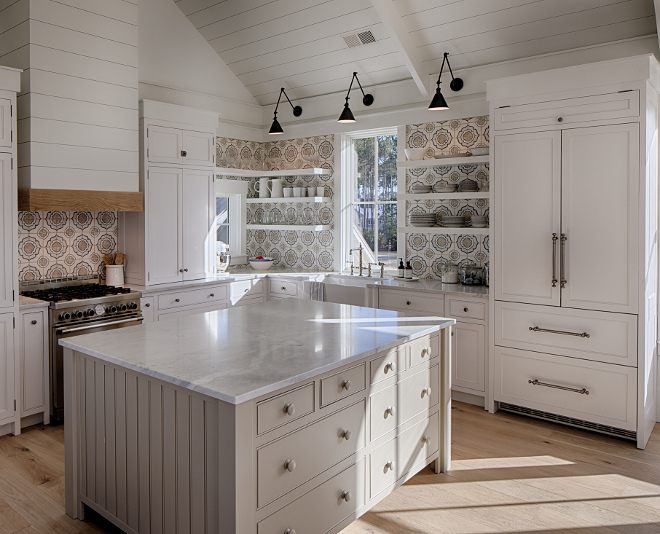 Kitchen. Board and batten coastal cottage in Palmetto Bluff with modern farmhouse interior design by Lisa Furey.