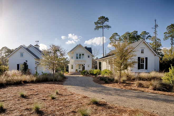 Board and batten coastal cottage in Palmetto Bluff with modern farmhouse interior design by Lisa Furey.