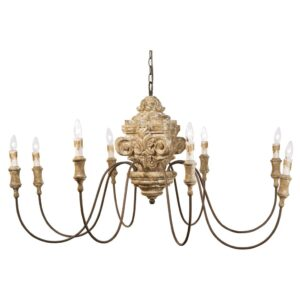 Wood carved French country chandelier by Regina Andrew.