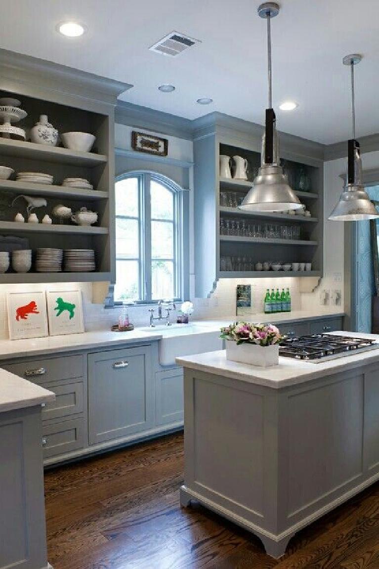 Sally Wheat kitchen. Come see 36 Best Beautiful Blue and White Kitchens to Love! #blueandwhite #bluekitchen #kitchendesign #kitchendecor #decorinspiration #beautifulkitchen