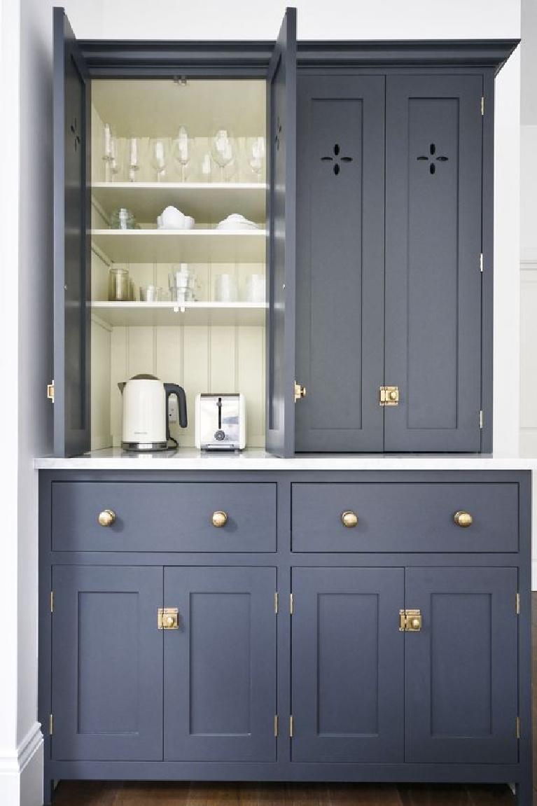 Deep blue grey custom kitchen cabinets by deVOL Kitchens. #devol #bluekitchen #kitchendesign #classickitchens