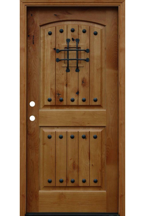 Pacific Entries Rustic Alder Front Door With Speakeasy #alder #knottywood #rusicdoor #exteriordoor #speakeasy #oldworld