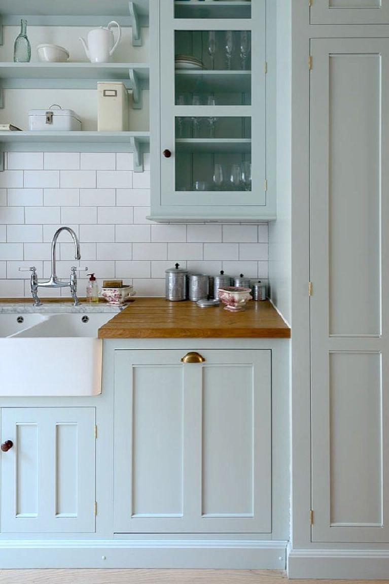 Serene and darling bespoke Shaker kitchen by deVOL with pastel blue cupboards. #bluekitchens #devol #shakerkitchens #kitchendesign