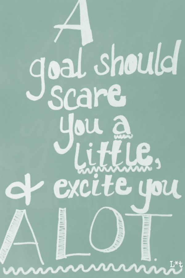 Inspiring quote for encouragement. A goal should scare you a little and excite you a lot. #quote #inspiringquote #encouragement #goals #personalgrowth