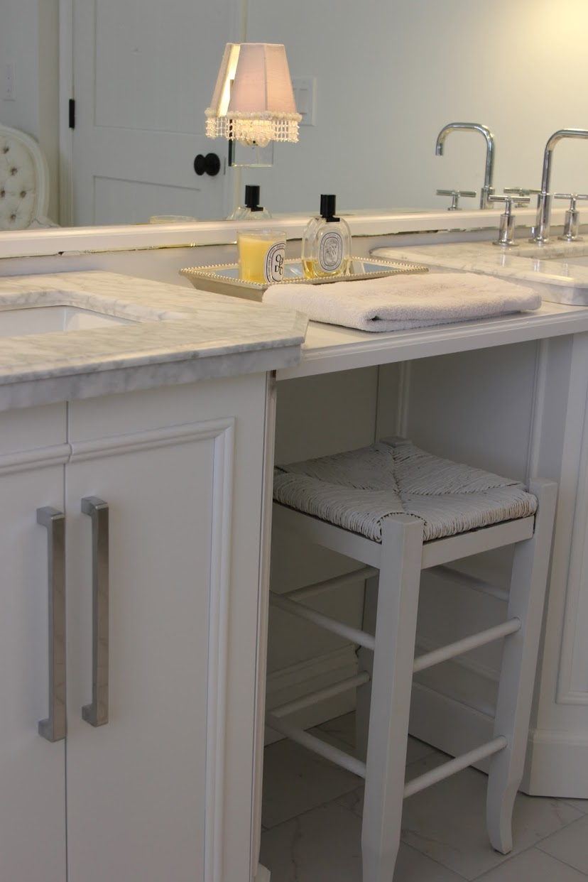 White classic bathroom vanity. Hello Lovely Studio.
