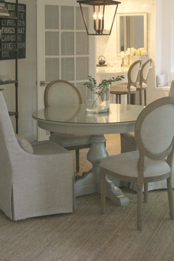 My dining room with French country Louis style dining chairs. Hello Lovely Studio