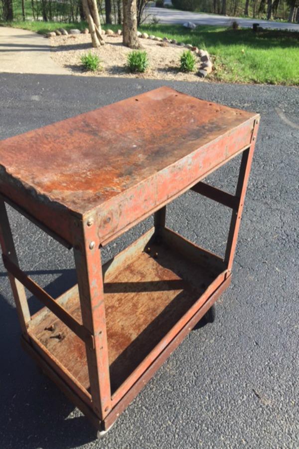 Steel industrial cart on casters before I transformed it DIY style. #hellolovelystudio #diy #steelcart
