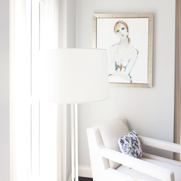 Holly Irwin painting in apartment in Waldorf Astoria designed by Inspired Interiors.