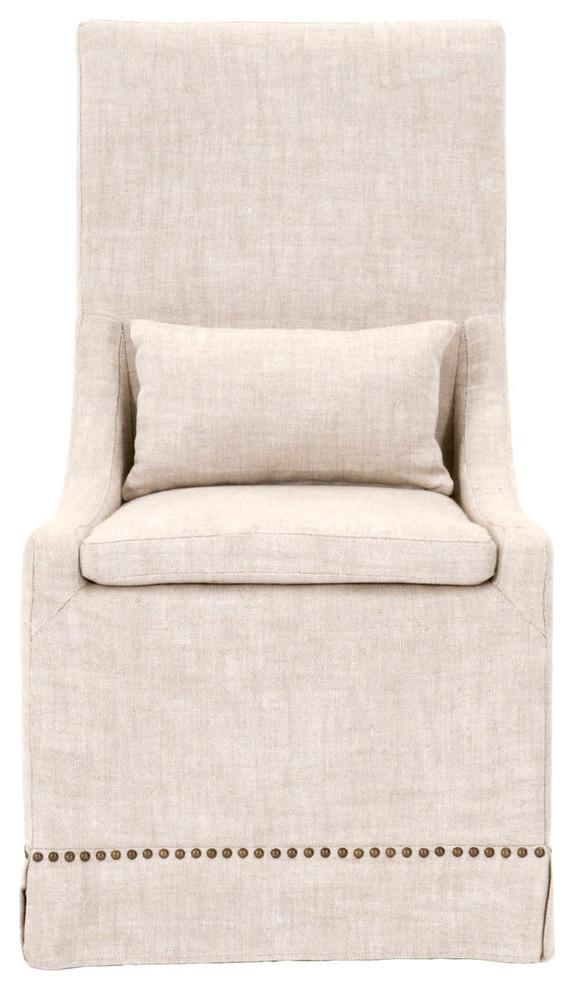 Linen slipcovered dining chair.