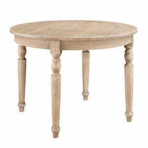Round wood dining table with farmhouse style.