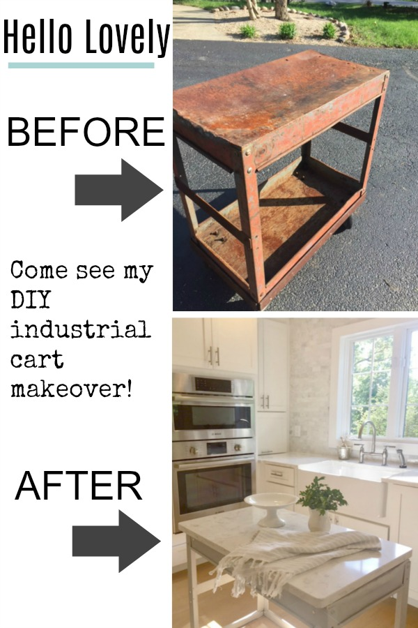 Before and after steel industrial cart makeover. I took a beat up cart, painted it with Annie Sloan Paris Grey, added salvaged wood planks to the bottom shelf, and used leftover quartz (the sink cut out) for the top. Now we have a functional and cute industrial cart in our serene kitchen. Hello Lovely Studio. #industrialcart #industrialfarmhouse #kitchencart #kitchenisland #diy #worktable #serenekitchen #viateraquartz #anniesloanparisgrey #industrialchic