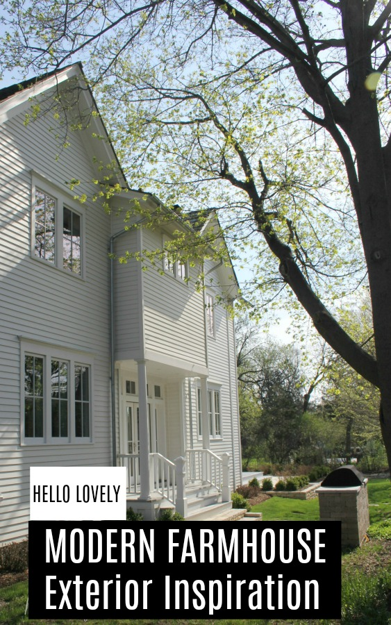 Modern farmhouse exterior inspiration on Hello Lovely Studio. See architectural details and beautiful examples of a modern farmhouse exterior with white cedar planking and board and batten. #modernfarmhouse #exterior #farmhousedesign #farmhouseexterior #farmhousearchitecture