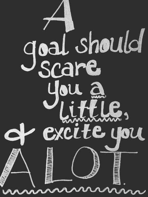 A goal should scare you a little, and excite you a lot. Inspiring quote of encouragement. Hello Lovely Studio. #goals #inspiringquote #personalgrowth #courage #quotes #encouragement