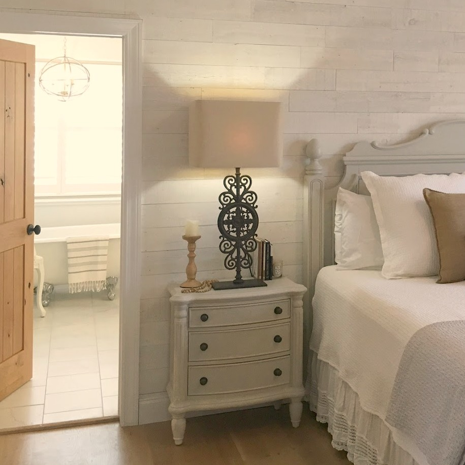 Come tour our French nordic cottage style bedroom with Stikwood statement wall and tone on tone decor - Hello Lovely Studio.