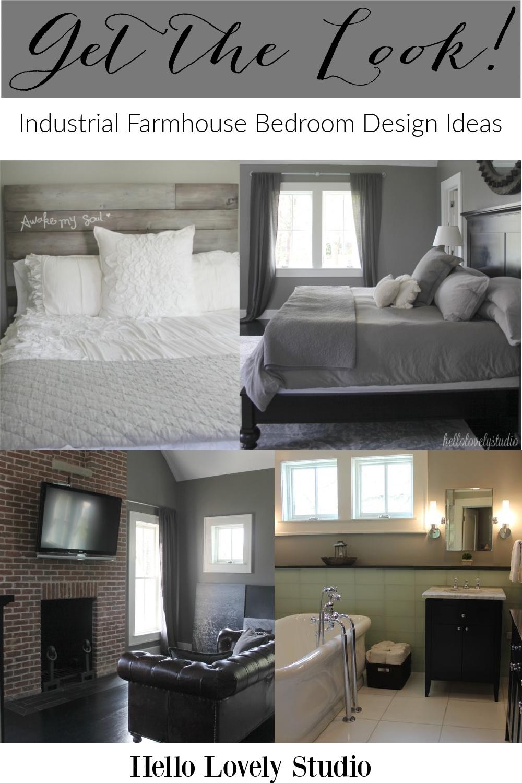 Industrial farmhouse bedroom design ideas - get the look on Hello Lovely Studio. #industrialfarmhouse #interiordesign #bedroomdecor #farmhousestyle #modernfarmhouse