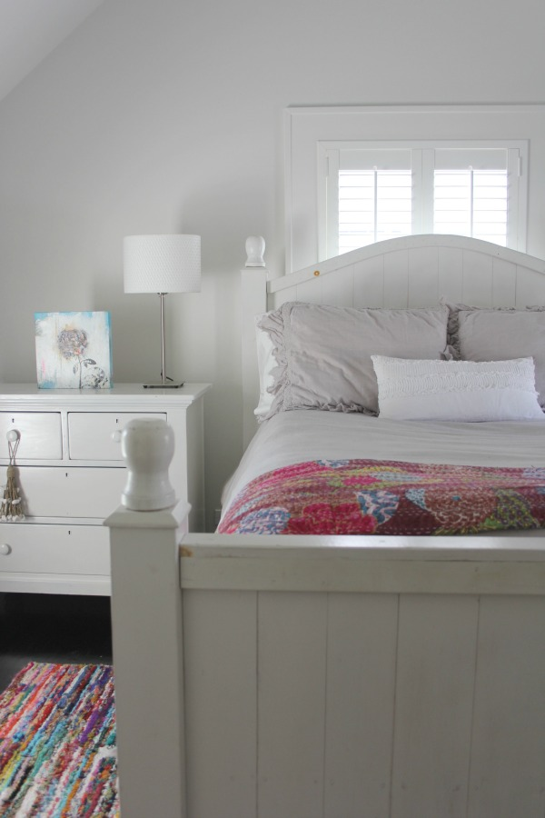 Serenely quiet modern farmhouse bedroom with walls painted Stonington Gray (Benjamin Moore). #stoningtongray #paintcolors